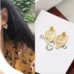 Hollow Leaf Feather Studs / Drop Earrings